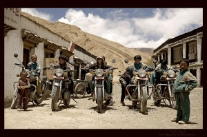 Tashi Dzom Angels in Tibet on Royal Enfield bikes